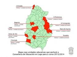 Mapa das unidades educativas de primaria que pechará educación no curso 2013-2014. Fonte: Deputación de Lugo