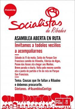 Cartel PSOE Ribadeo Asamblea Aberta en Ruta
